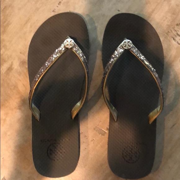 5ed0167f4d47a Tory Burch Adia Brown Glitter Flip Flops size 8. M 5b6b738d04ef5098d8073e0d